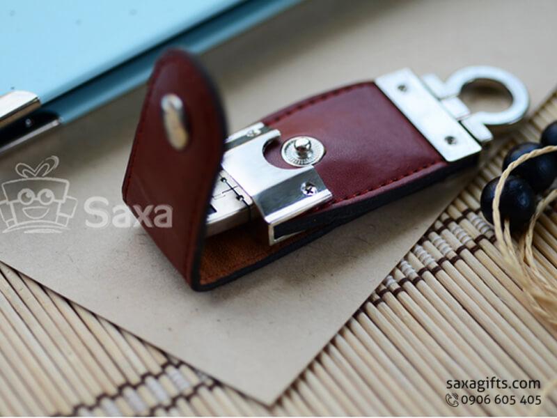 USB vỏ da in logo móc khóa nút bấm (Leather USB)