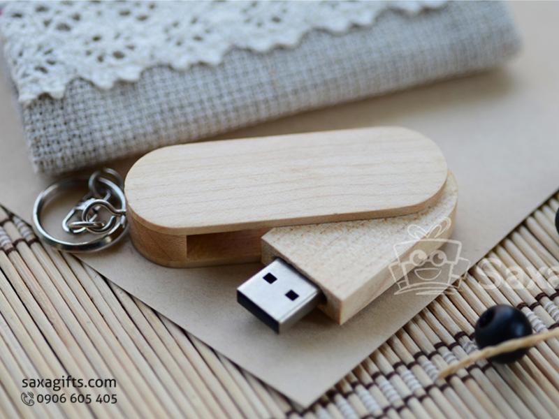 USB vỏ gỗ in logo có móc khóa xoay 360 độ(wood USB)