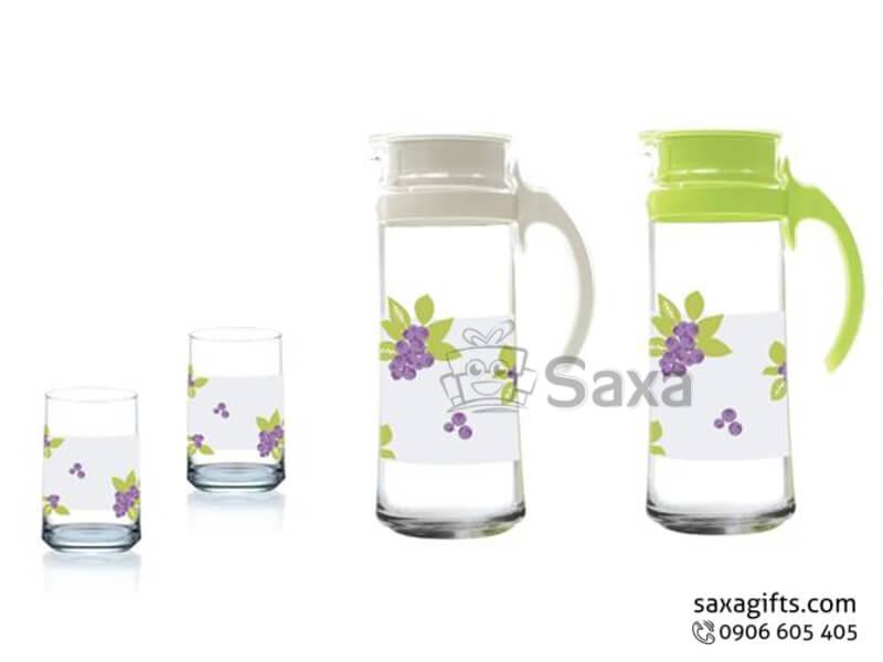 Bộ bình thủy tinh in logo có họa tiết bông hoa