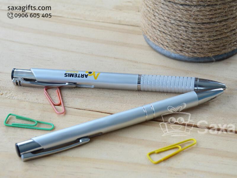 Bút bi nhựa giả kim loại giá rẻ đầu bấm tiện dụng