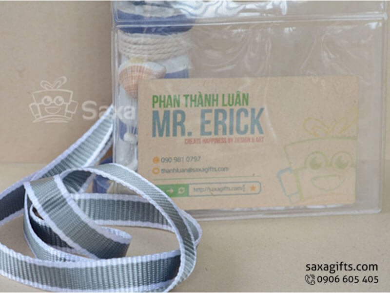 Dây đeo thẻ in logo chất liệu dù tổng hợp cao cấp 2 màu trắng xám