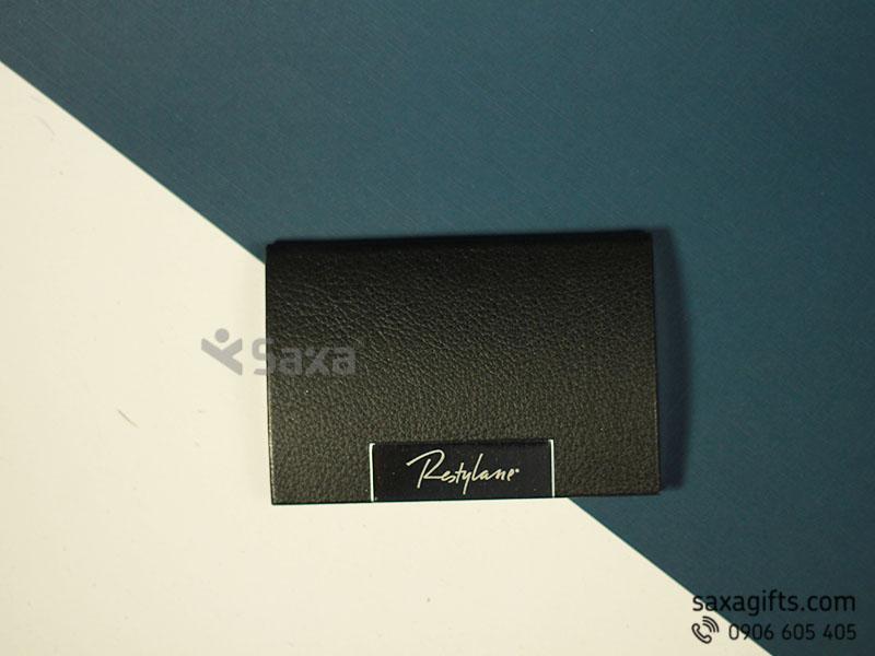 Hộp namecard da in logo màu đen khung kim loại dạng bầu