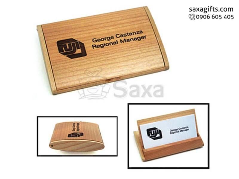 Hộp namecard gỗ in logo nắp bật tiện dụng