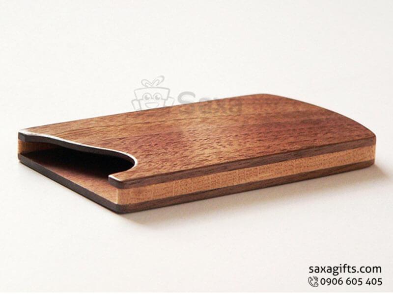Hộp namecard gỗ in logo tạo thành một khối không có nắp đậy
