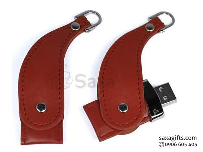 USB vỏ da in logo có móc khóa xoay 360 độ hình tù và