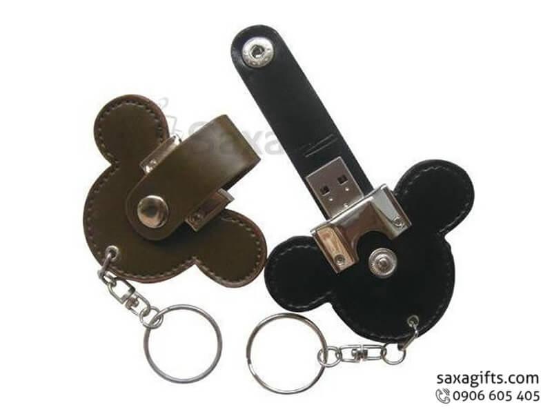 USB vỏ da in logo có móc khóa hình đầu chuột mickey (Leather USB)