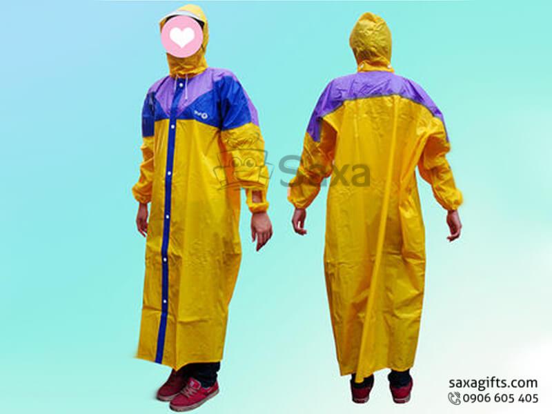 Áo mưa bít in logo bằng vải nhựa phối 3 màu
