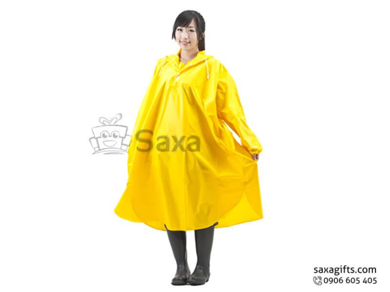 Áo mưa bít in logo vạt bầu màu vàng