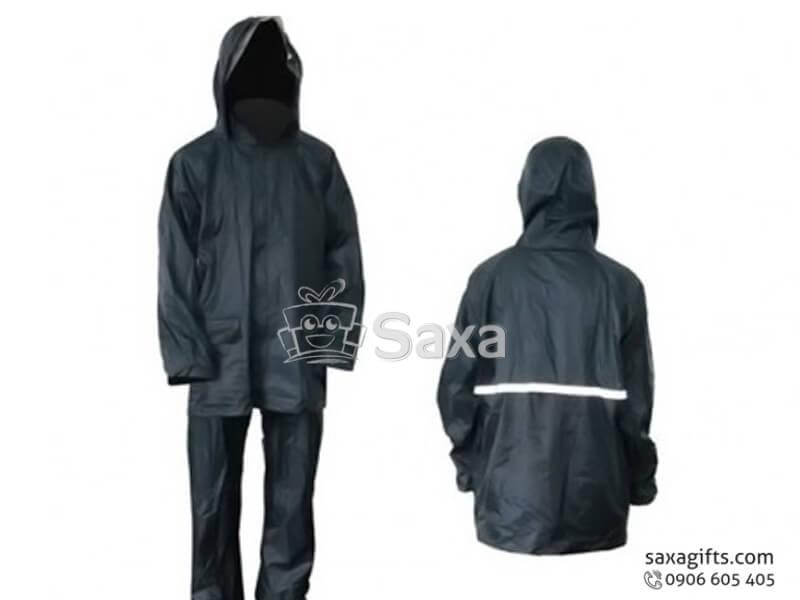 Áo mưa bộ in logo vải dù có vạch phát quang ở lưng áo