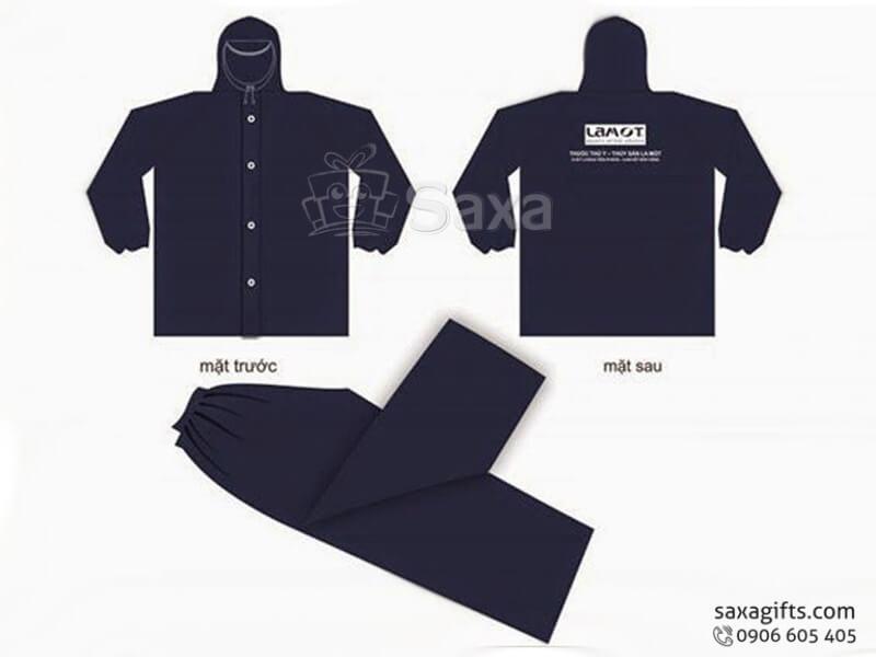Áo mưa bộ in logo vải dù có nút phối màu nổi bật