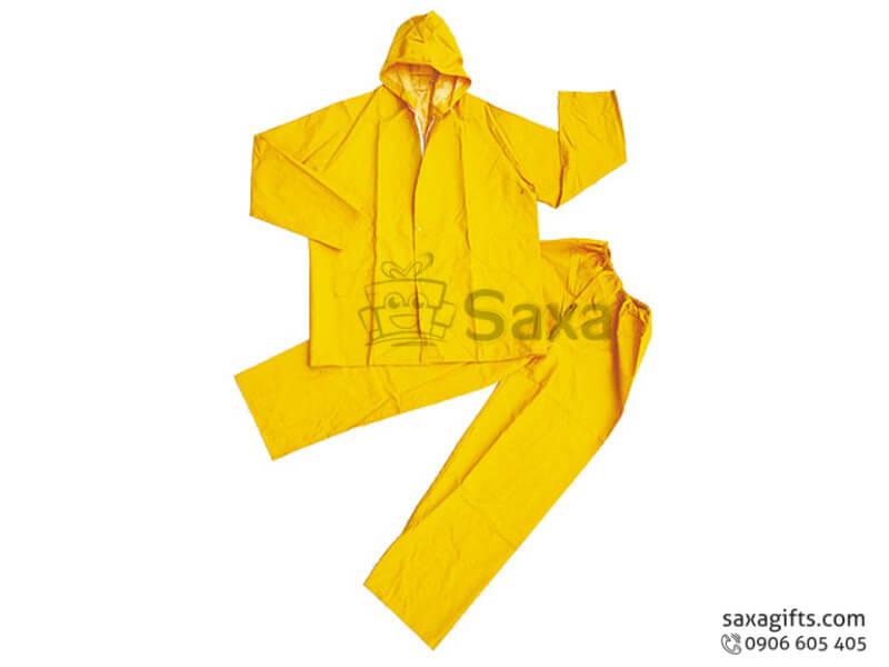 Áo mưa bộ in logo bằng vải nhựa Rạng Đông 0.17 màu vàng