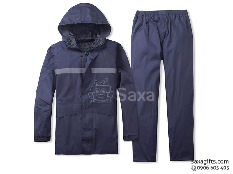 Áo mưa bộ in logo bằng vải dù có túi áo và sọc phát quang ở trước