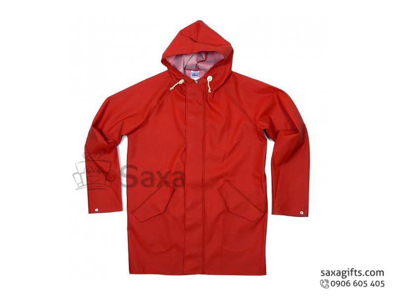 Áo mưa bộ in logo quảng cáo vải dù có túi màu đỏ đô