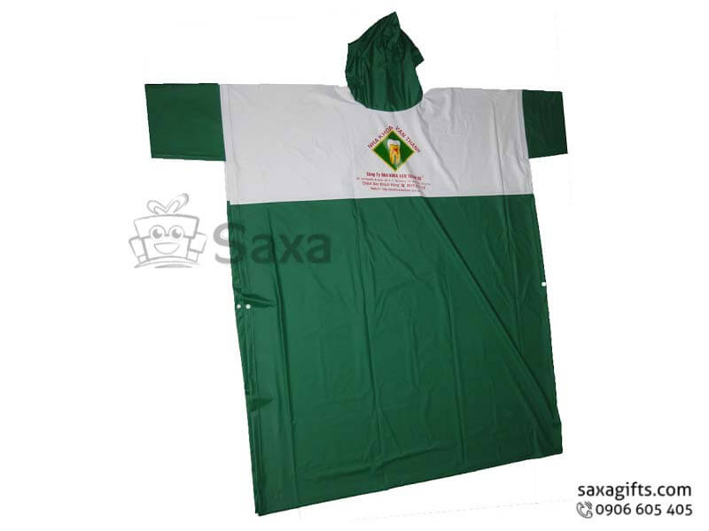 Áo mưa cánh dơi in logo vải nhựa Rạng Đông 0.17 phối màu