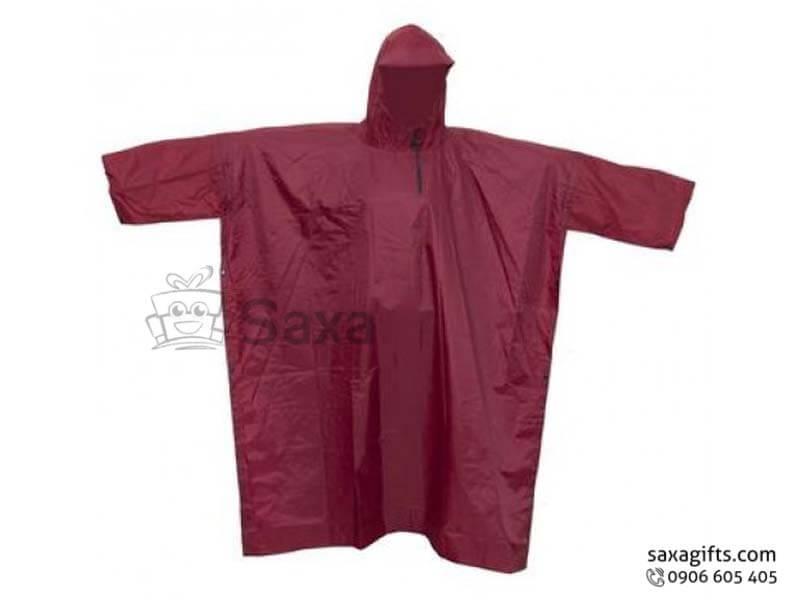 Áo mưa cánh dơi vải dù in logo màu đỏ đô