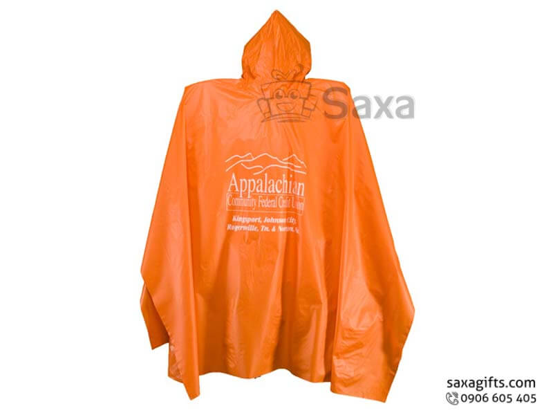 Áo mưa cánh dơi in logo vài nhựa màu cam