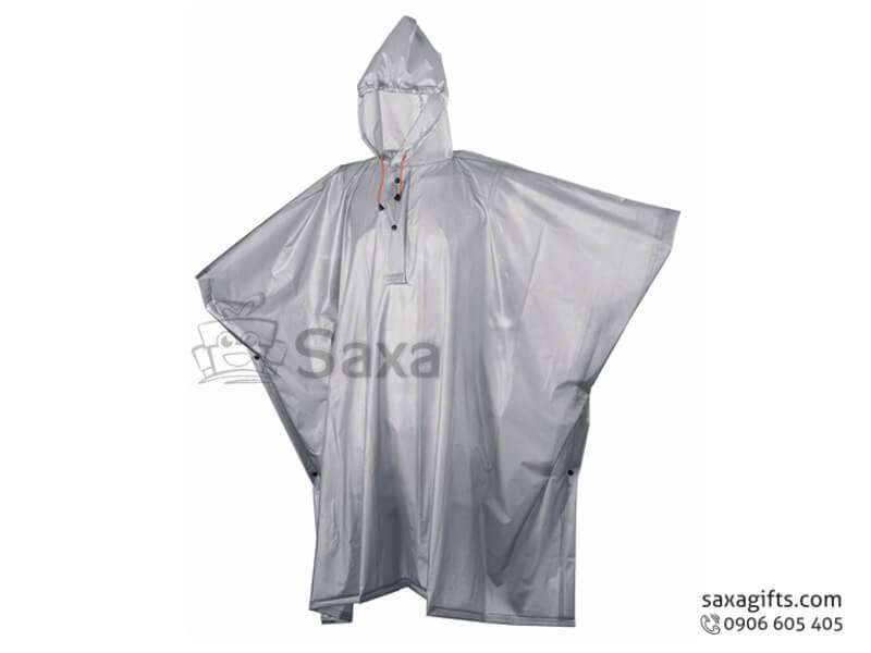Áo mưa cánh dơi in logo vải nhựa không tay màu xám