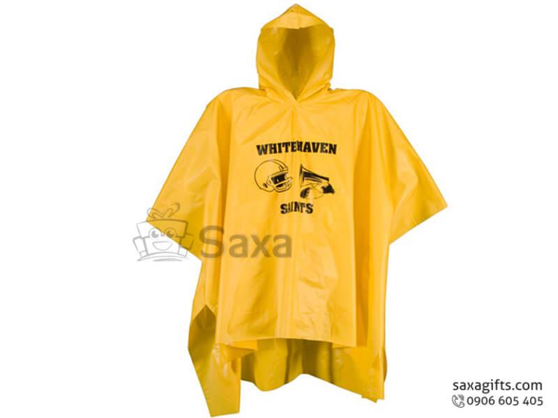 Áo mưa cánh dơi in logo vải nhựa vạt áo bầu cách điệu