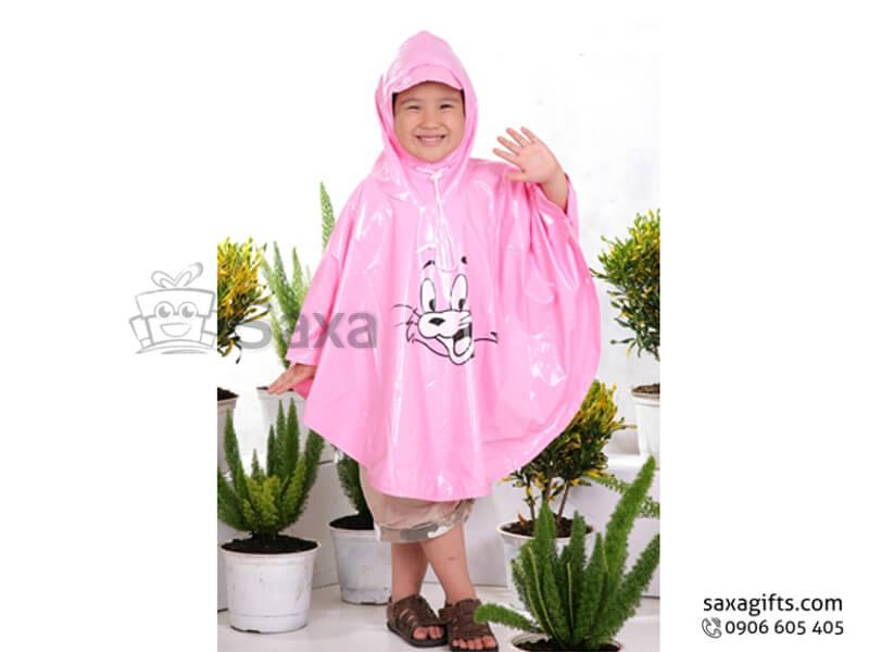 Áo mưa trẻ em in logo màu hồng