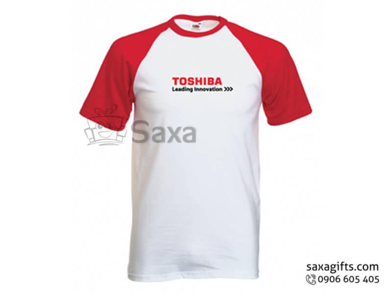Áo thun in logo quảng cáo tay raglan phối màu