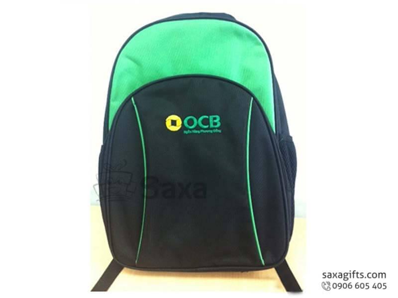 Balo laptop in logo OCB Bank vải dù đen phối xanh lá