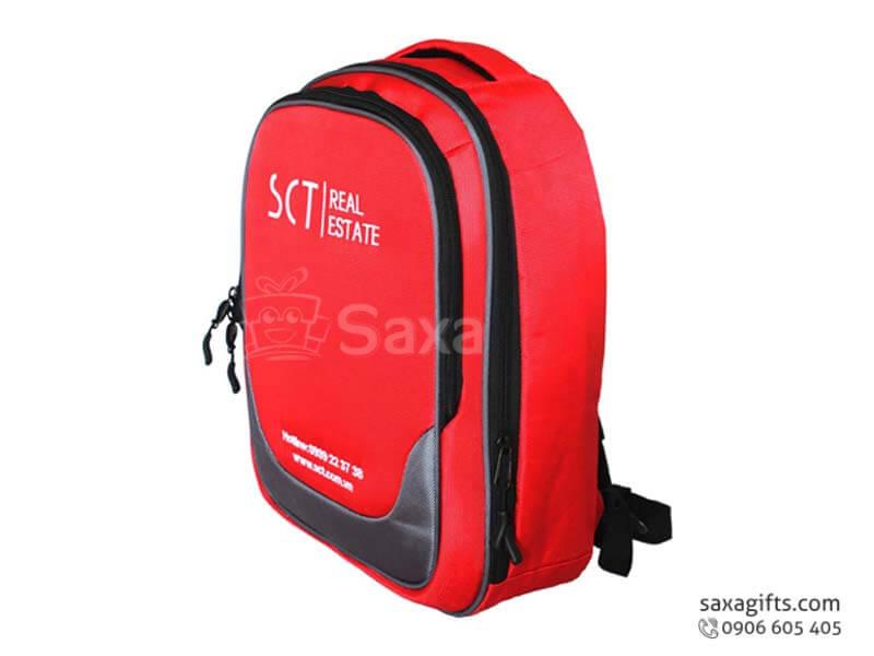 Balo laptop in logo vải dù form hộp đỏ phối đen của SCT