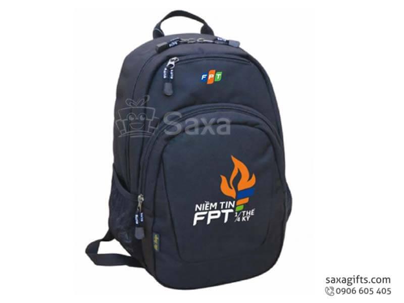 Balo laptop in logo bằng vải dù màu đen cá tính của FPT