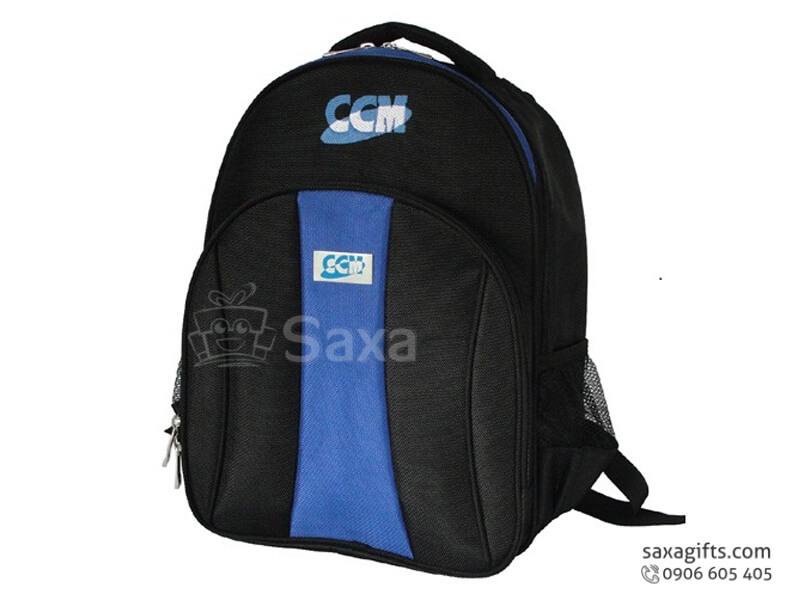 Balo laptop in logo vải dù đen phối xanh dương form bầu của CCM