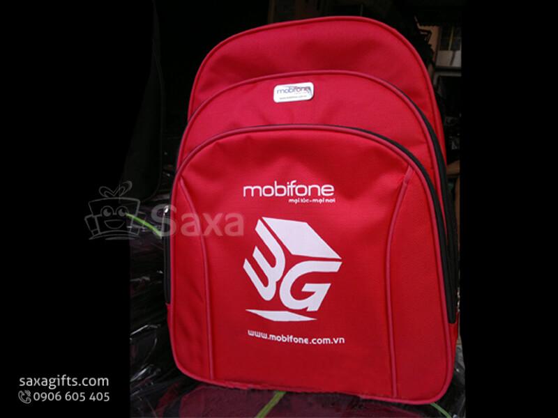 Balo laptop in logo vải dù 3 tầng màu đỏ của Mobifone