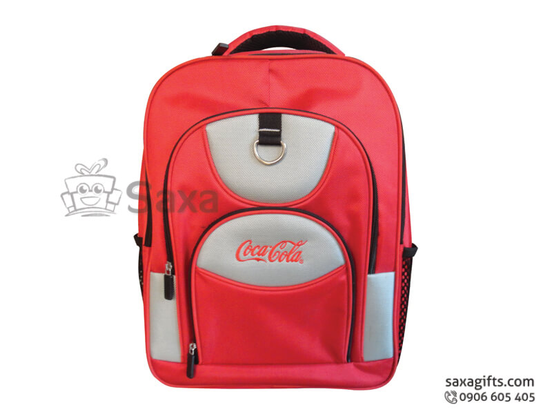 Balo laptop in logo vải dù 3 tầng màu đỏ của Cocacola
