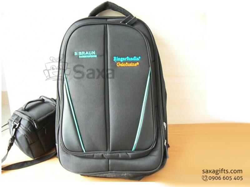 Balo laptop in logo vải dù lót mút chống sốc của Bibraun