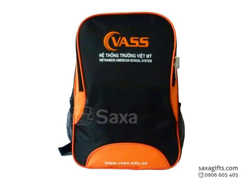 Balo laptop in logo vải dù đen cam form chữ nhật của Vass