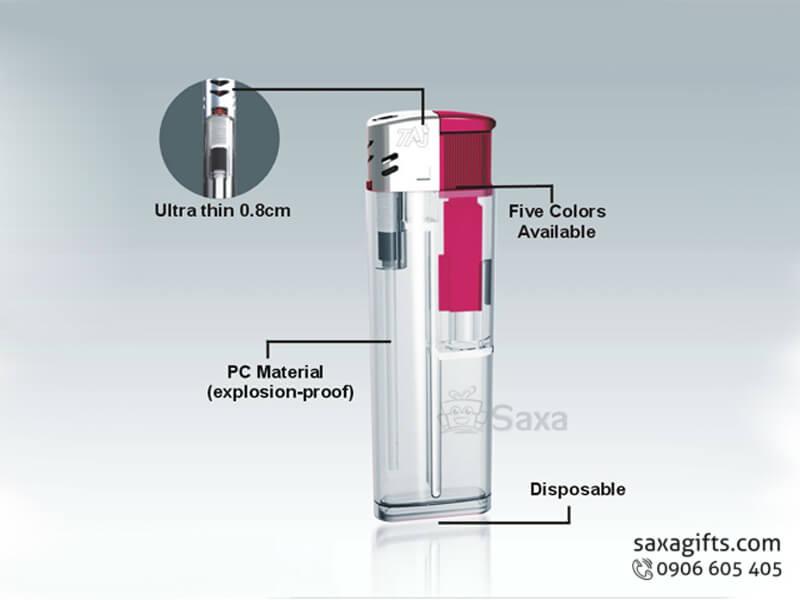 Bật lửa quảng cáo phối nhựa màu hồng