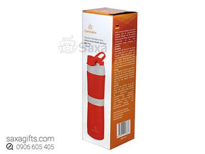 Bình giữ nhiệt in logo cao cấp màu đỏ nắp 2 tầng