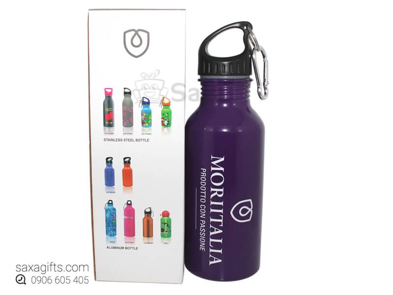 Bình nước thể thao in logo Moriitalia có móc khóa hình giọt nước