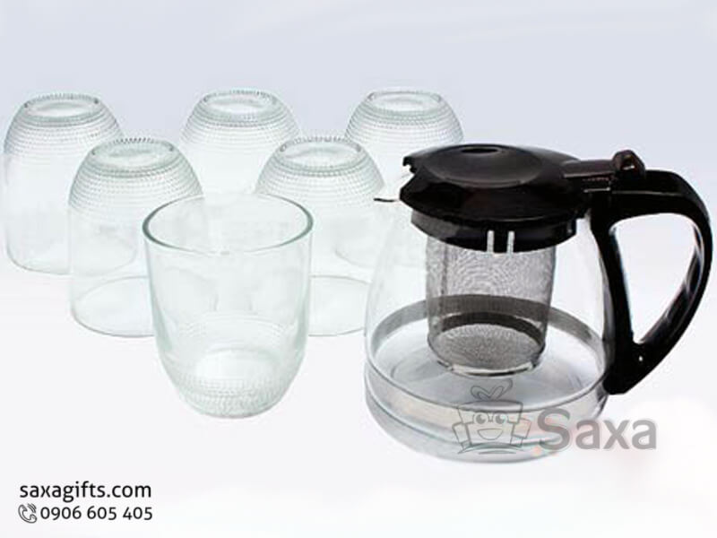 Bộ 1 bình bầu có khay lọc trà + 6 ly thủy tinh