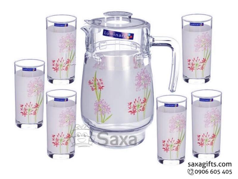 Bộ bình thủy tinh in logo cỡ trung họa tiết hoa nổi bật