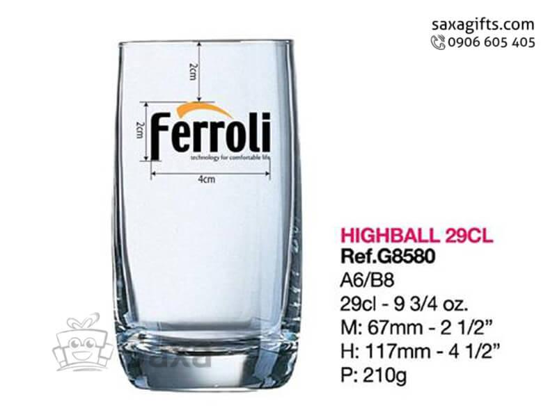 Ly thủy tinh in logo Ferroli cỡ trung đáy bo góc