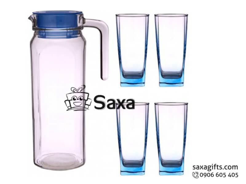 Bộ bình thủy tinh in logo nắp nhựa cỡ trung