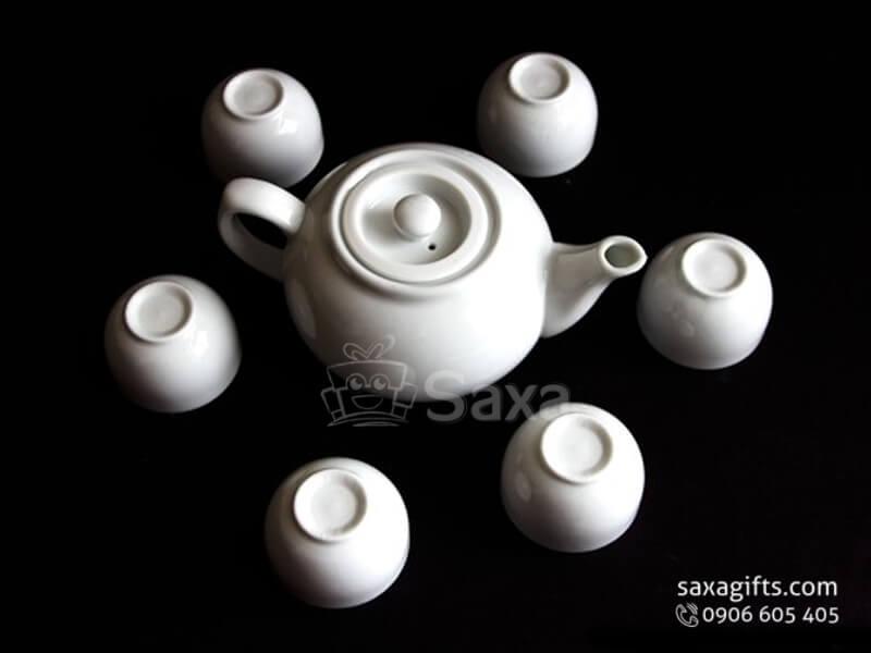 Bộ ấm trà in logo gốm sứ Minh Long thân bầu thấp