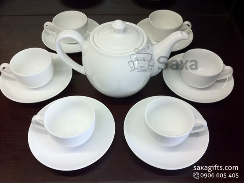 Bộ ấm trà in logo gốm sứ Minh Long thân bầu cao
