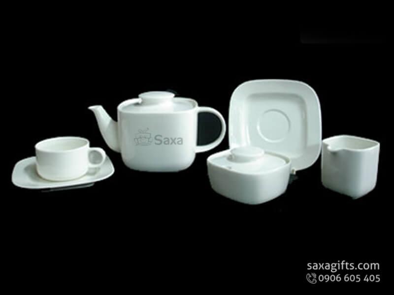 Bộ ấm trà in logo gốm sứ Minh Long cao cấp hình vuông