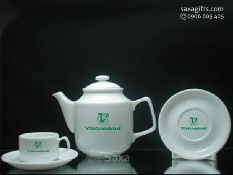 Bộ ấm trà in logo gốm sứ in lụa nhiều màu