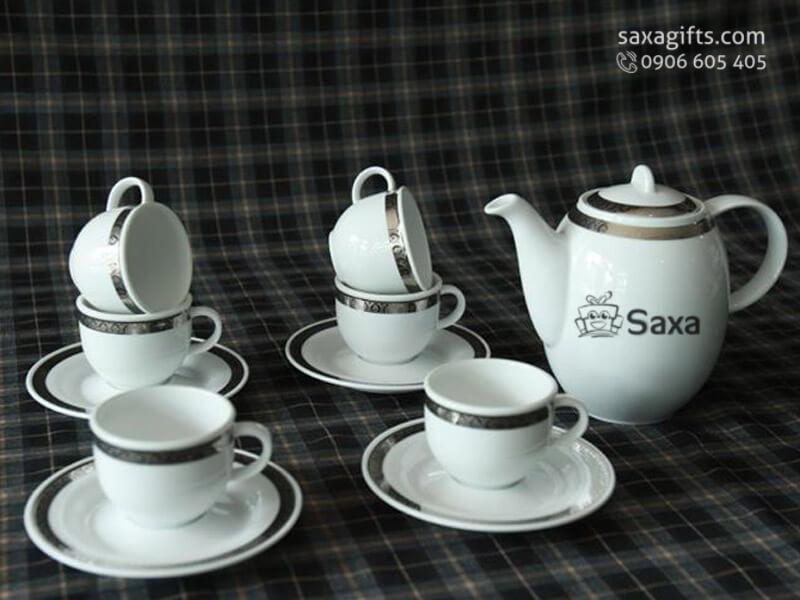 Bộ ấm trà in logo gốm sứ Minh Long viền bạc cao cấp
