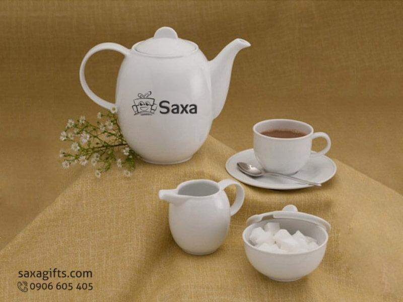 Bộ ấm trà in logo gốm sứ có hủ đựng đường tiện dụng