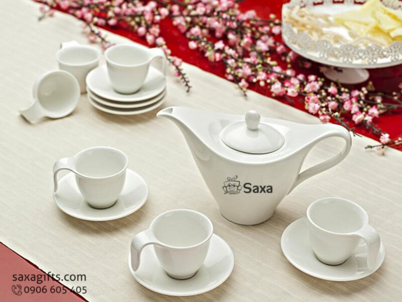 Bộ ấm trà in logo Minh Long kiểu dáng đặc biệt
