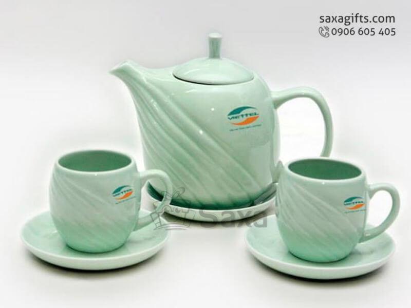 Bộ ấm trà gốm xanh ngọc in logo Viettel
