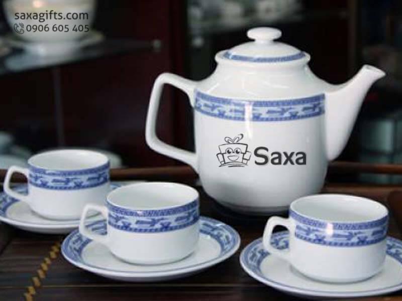 Bộ ấm trà in logo gốm sứ Minh Long họa tiết chim lạc độc đáo