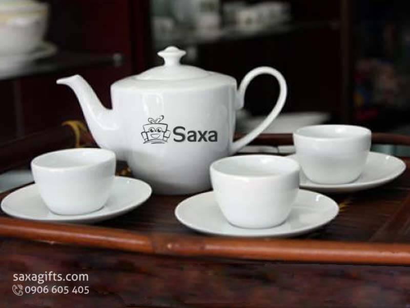 Bộ ấm trà in logo gốm sứ làm quà tặng doanh nghiệp