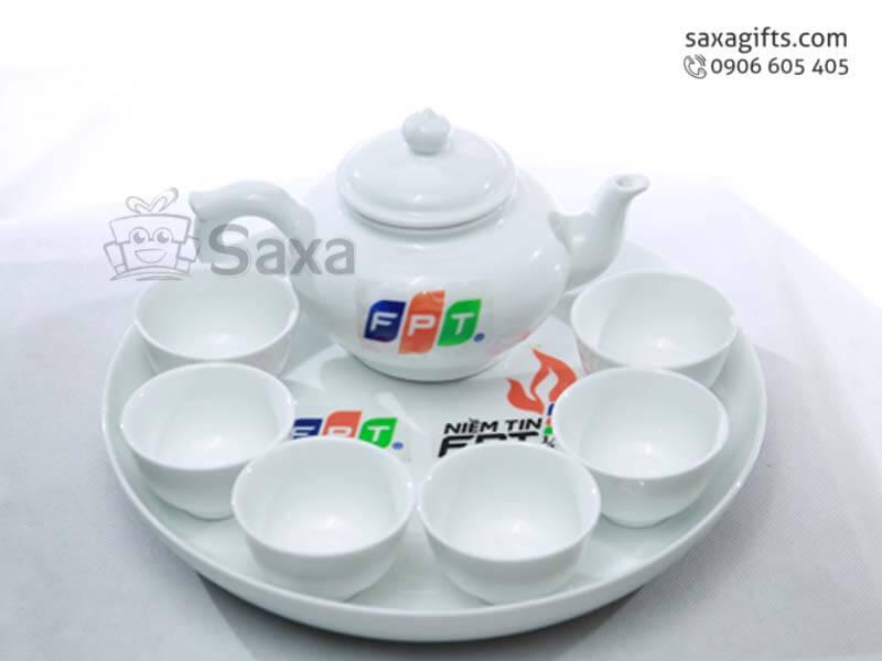 Bộ ấm trà in logo nhiều màu gốm sứ Minh Long